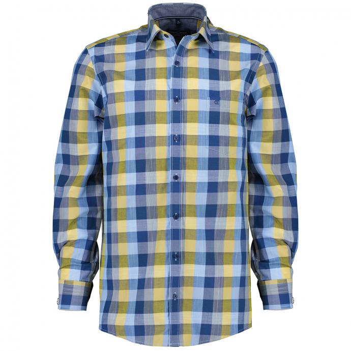 Kariertes Freizeithemd aus Baumwolle, langarm blau/gelb_150/4070   XXL
