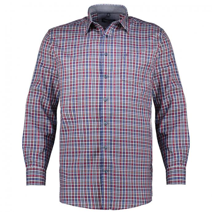 Kariertes Freizeithemd aus Baumwoll-Twill, langarm rot_400 | XXL