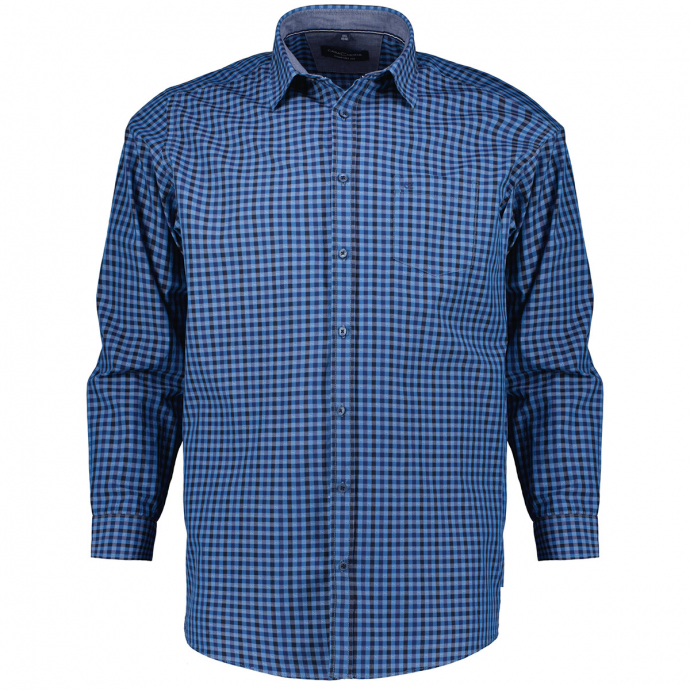 Freizeithemd in Kleinkaro-Design, langarm blau/dunkelblau_150/4040   3XL