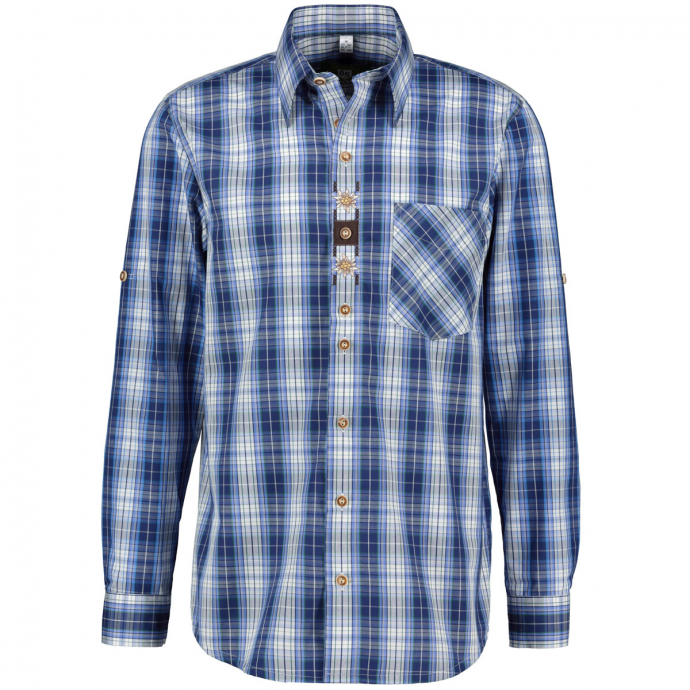 Karriertes Trachtenhemd langarm blau/weiß_57/4020 | 3XL