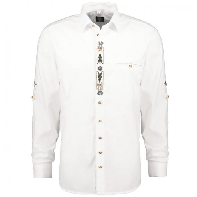 Klassisches Trachtenhemd mit Applikationen und langen Ärmeln weiß_01 | 3XL