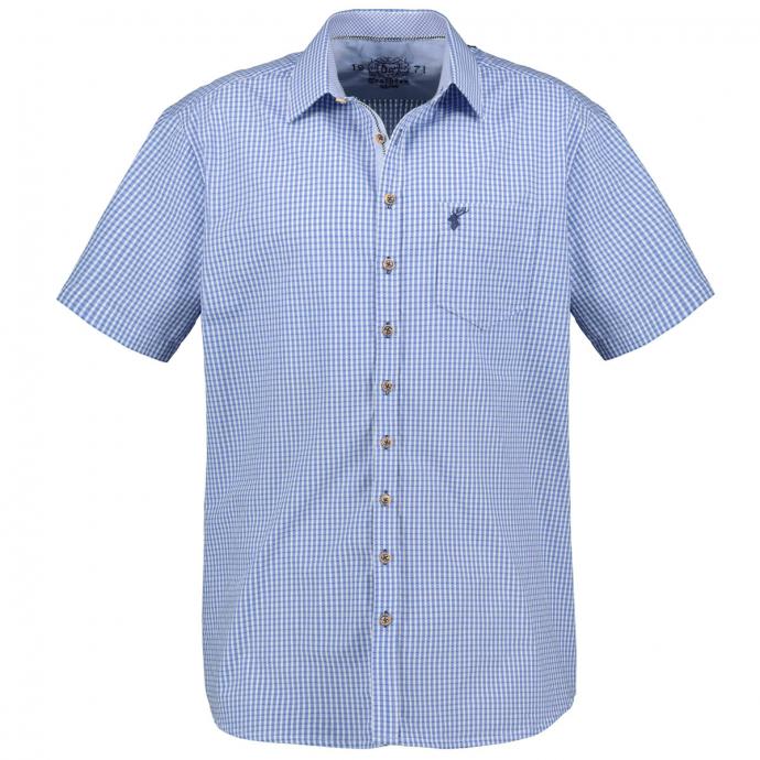 Schickes Trachtenhemd kurzarm blau/weiß_42/4020 | 3XL