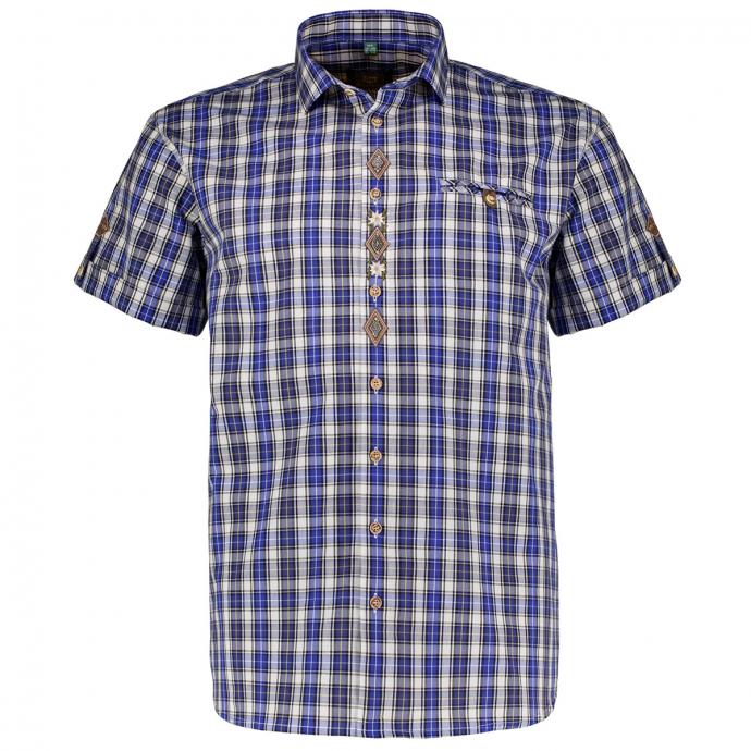 Kariertes Trachtenhemd mit Stickerei, kurzarm blau_45/40 | 3XL