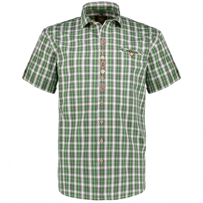 Kariertes Trachtenhemd mit Stickerei, kurzarm grün/weiß_56/6020 | 3XL