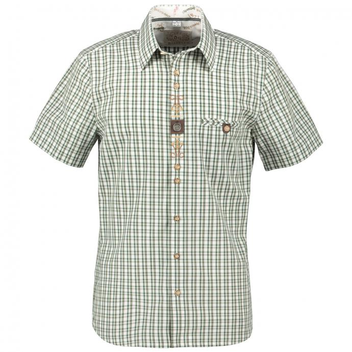Kariertes Trachten-Freizeithemd kurzarm grün/weiß_01/6020 | 3XL