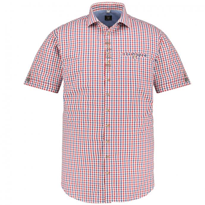 Kariertes Trachtenhemd mit Metallapplikationen und Stickereien, kurzarm rot/weiß_34/5020 | 3XL