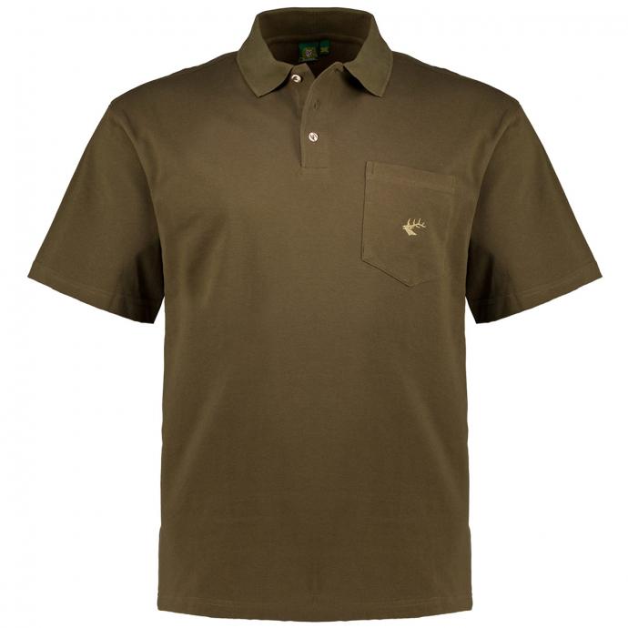 Trachten-Poloshirt mit Stickelement oliv_55 | 3XL
