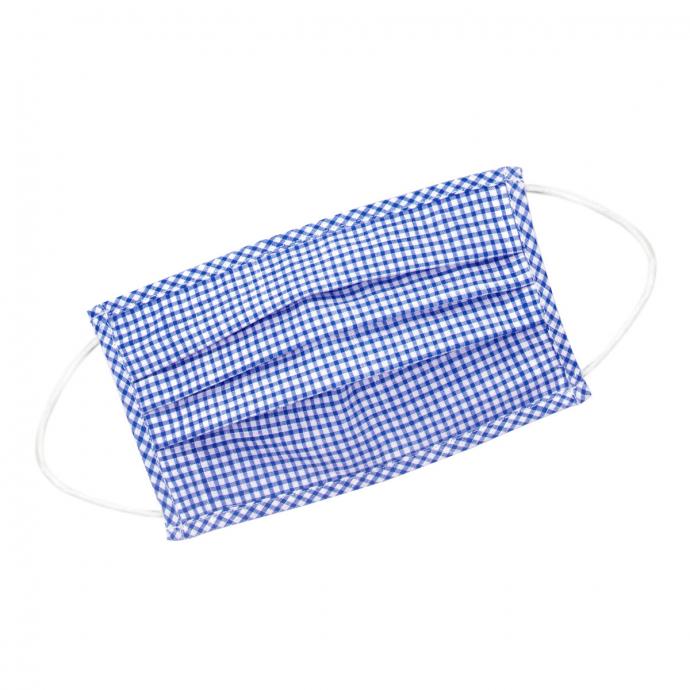 Wiederverwendbare Behelfsmaske aus Baumwolle, kariert blau_48 | One Size