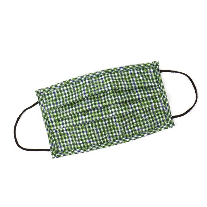 Wiederverwendbare Behelfsmaske aus Baumwolle, kariert waldgrün_57 | One Size