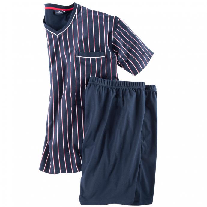 Schlafanzug kurz mit gestreiftem Oberteil blau_7013 | 60