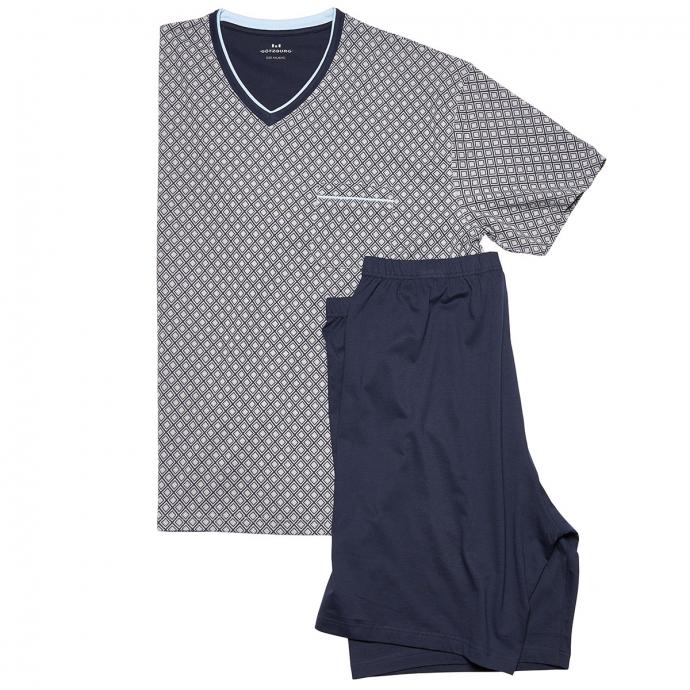 Legerer kurzer Schlafanzug mit V-Ausschnitt-Shirt grau_0825 | 72/74