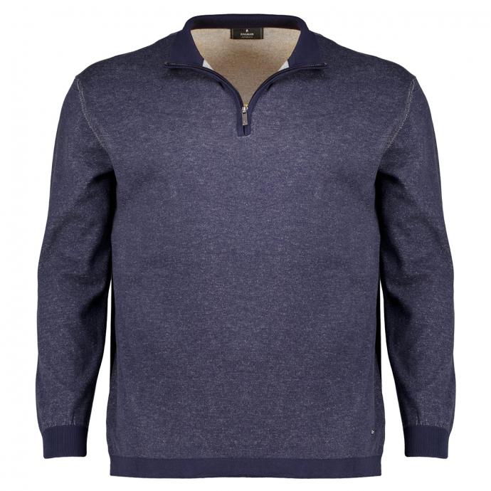 Leichter Baumwoll-Pullover mit Zip marine_711 | 3XL