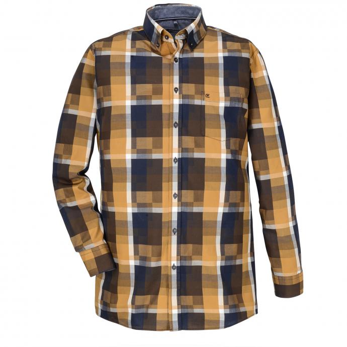 Baumwollhemd im Blockkaromuster, langarm gelb_500 | XXL