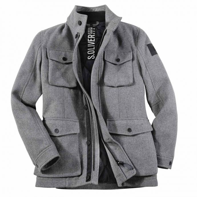 Lässige Wolljacke mit Stehkragen und vielen Taschen grau_9730 | 3XL