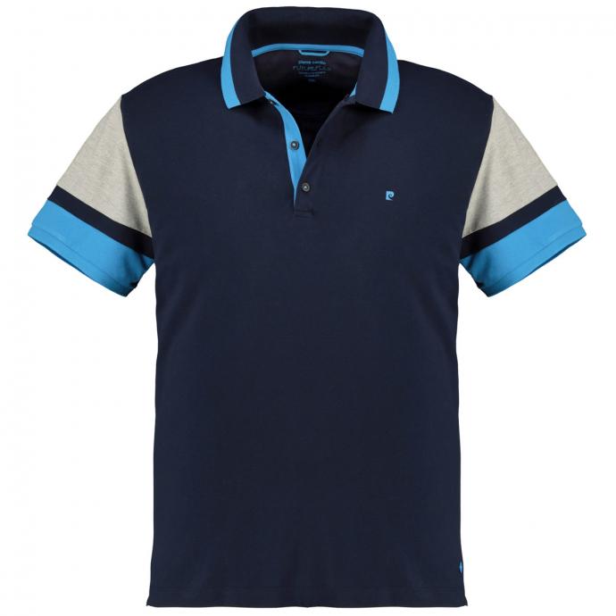 Poloshirt in Blocking-Colour-Optik, kurzarm dunkelblau_3050 | 5XL