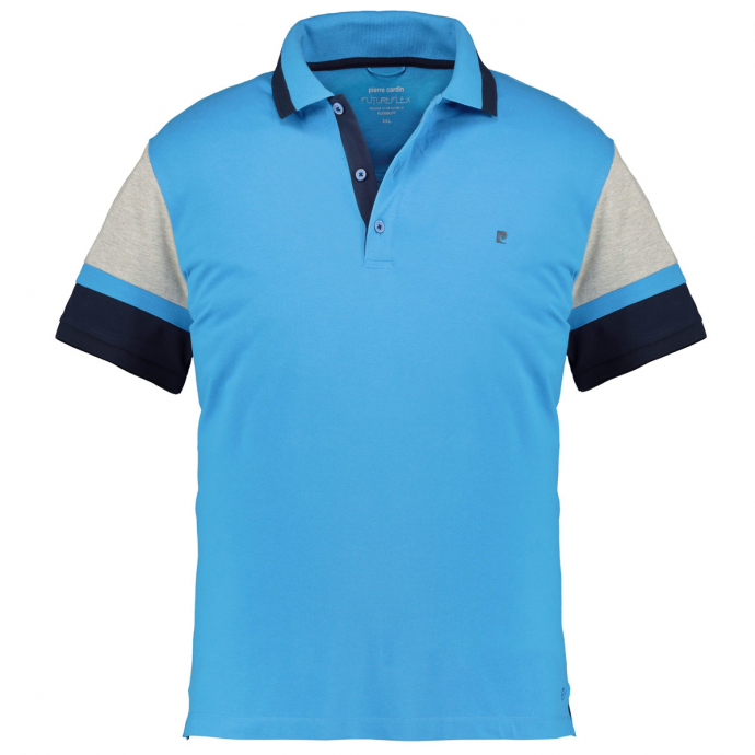 Poloshirt in Color-Blocking, kurzarm mittelblau_3760/41 | 3XL