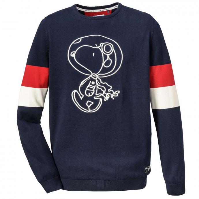 Leichter Strickpullover mit Snoopy Frontprint blau_5952 | 3XL