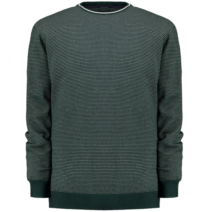leichter Baumwoll-Pullover in Strukturstrick grün_7959 | 3XL