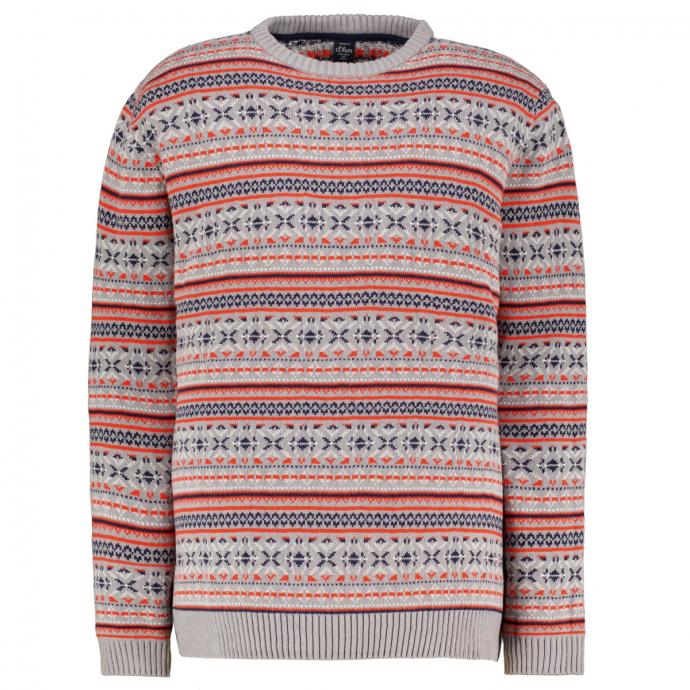 Klassischer Baumwoll-Pullover im nordischen Strickmuster grau_92G0 | 3XL