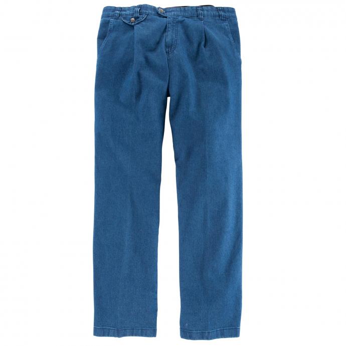 Tiefbund Jeans mit Bundfalte und Stretch blau_22   58