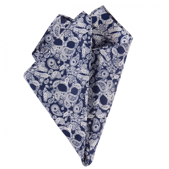 Einstecktuch mit Skull-Motiv im Paisleymuster blau_002 | One Size