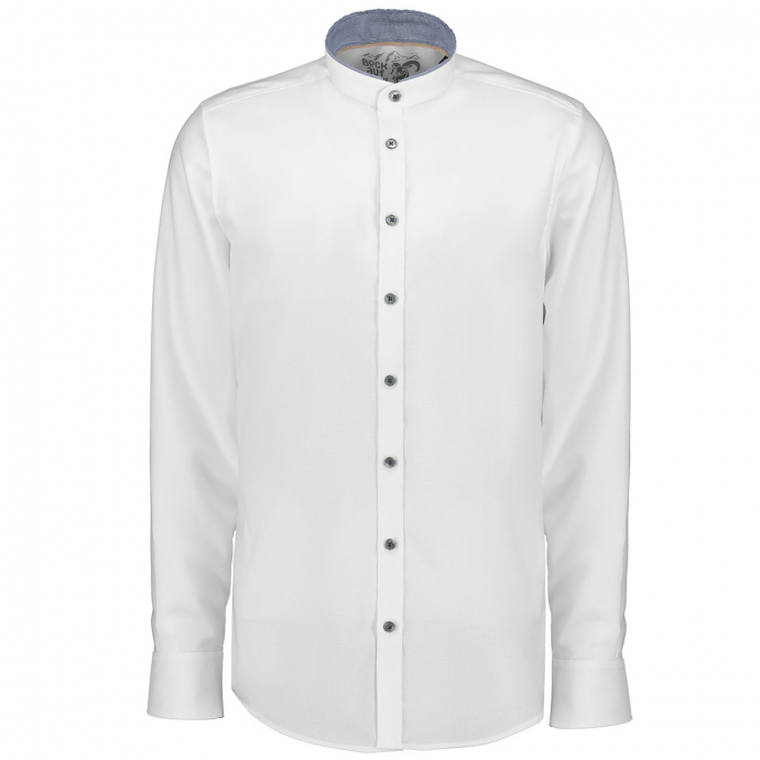 Klassisches Trachtenhemd mit Stehkragen und langem Arm weiß_900 | XXL