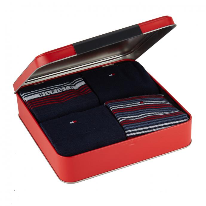 4er-Pack sportliche Socken im Hilfiger Style in Geschenkbox dunkelblau_001/400 | 43-46