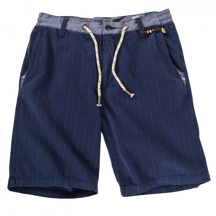 Gestreifte Short mit elastischem Gummibund dunkelblau_58G1 | W44