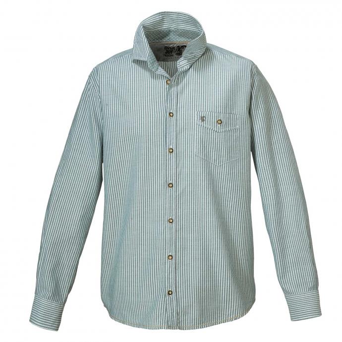 Trachtenhemd aus Baumwolle, langarm grün/weiß_463 | 3XL