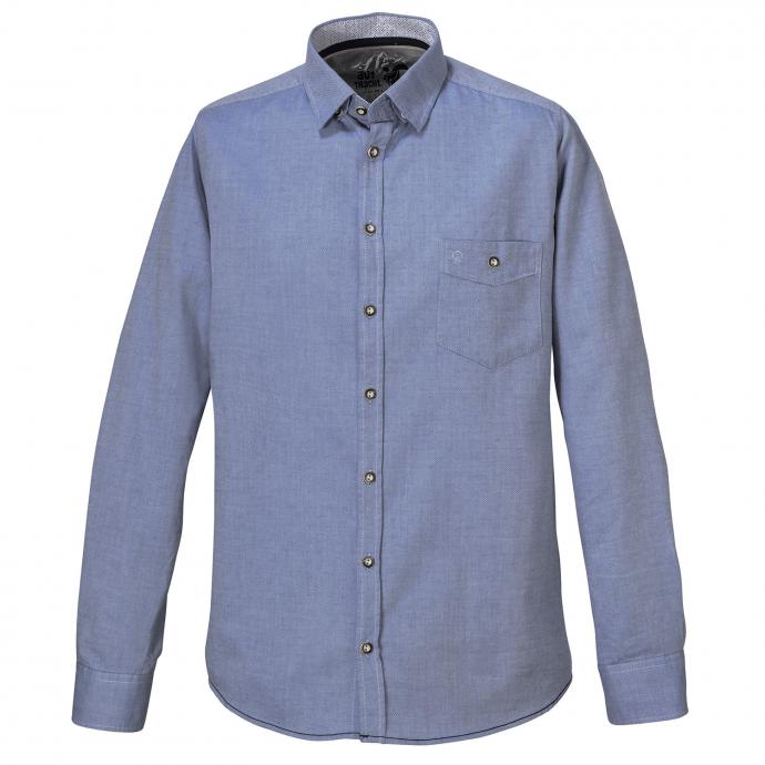 Baumwoll-Trachtenhemd, langarm blau_110 | 3XL