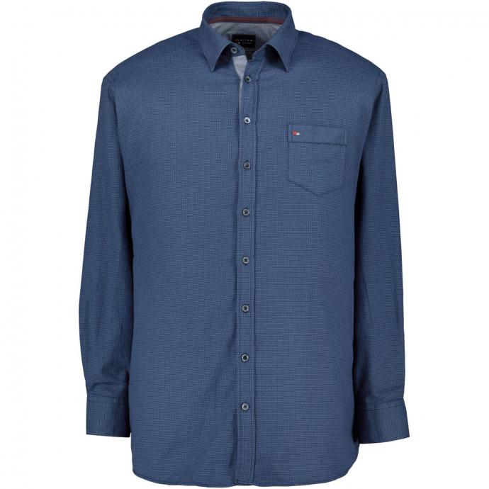 Baumwoll-Freizeithemd, langarm blau_129 | 7XL