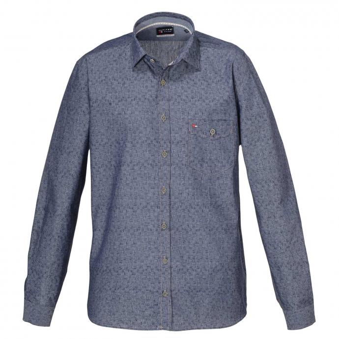 Freizeithemd in Baumwolle, langarm blau_176 | 3XL