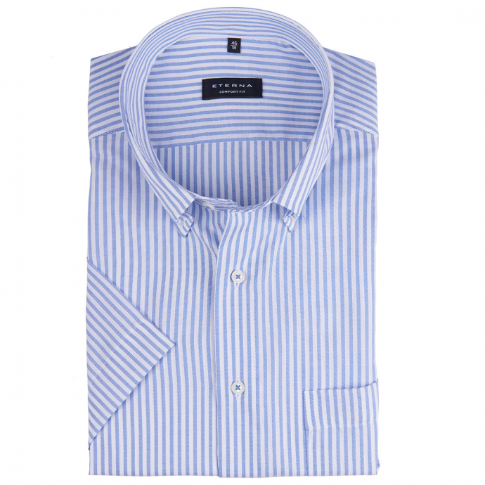 Gestreiftes Oxfordhemd, kurzarm blau_14/50 | 46