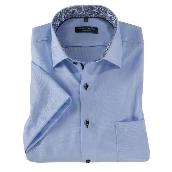 Bügelfreies Cityhemd mit auffälligem Kontrastausputz, kurzarm blau_100 | 3XL