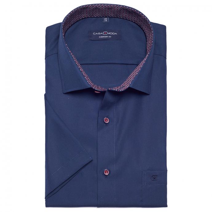 Unifarbenes Businesshemd mit kurzem Arm dunkelblau_116/400 | XXL