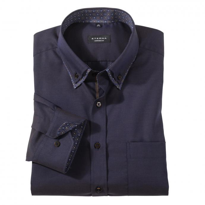 Elegantes City-Hemd mit Kontrasteinsätzen langarm dunkelblau_71 | 45