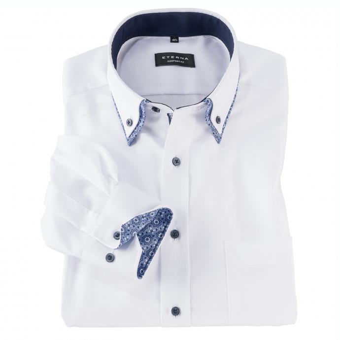 Cityhemd mit kontrastfarbenem Doppelkragen, langarm weiß_00 | 46
