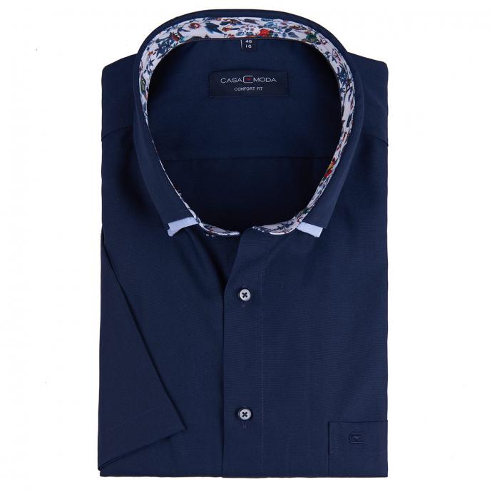 Businesshemd mit Doppelkragen, kurzarm dunkelblau_116/400 | 46