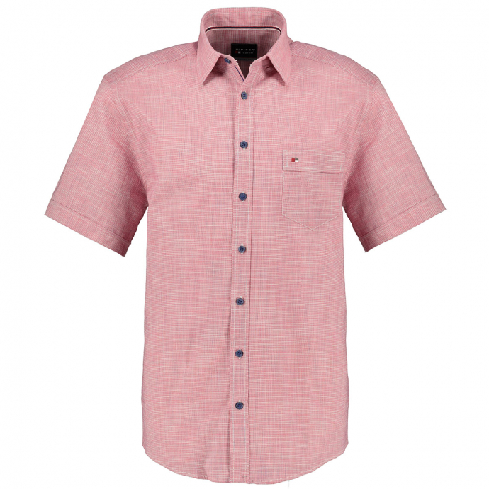 Strukturiertes Freizeithemd kurzarm rot_310 | XXL