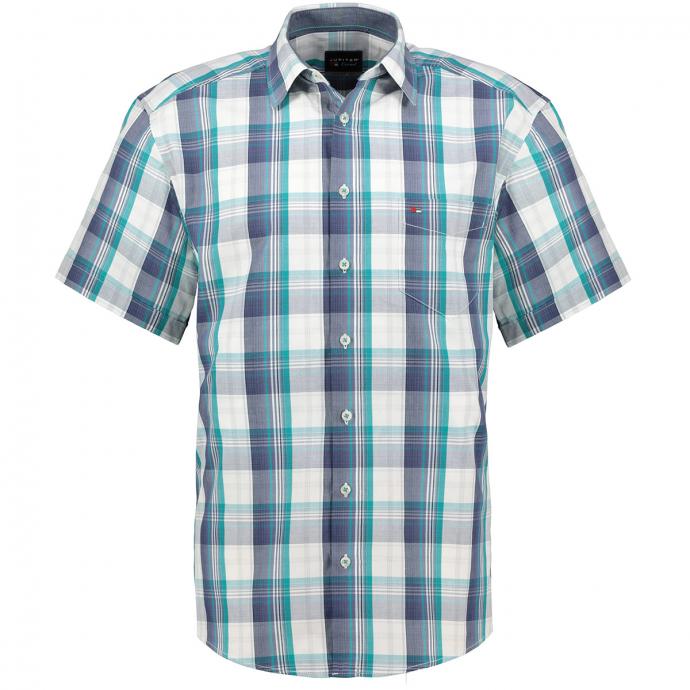 Freizeithemd mit großen Karo´s, kurzarm blau/türkis_455/4045 | 5XL
