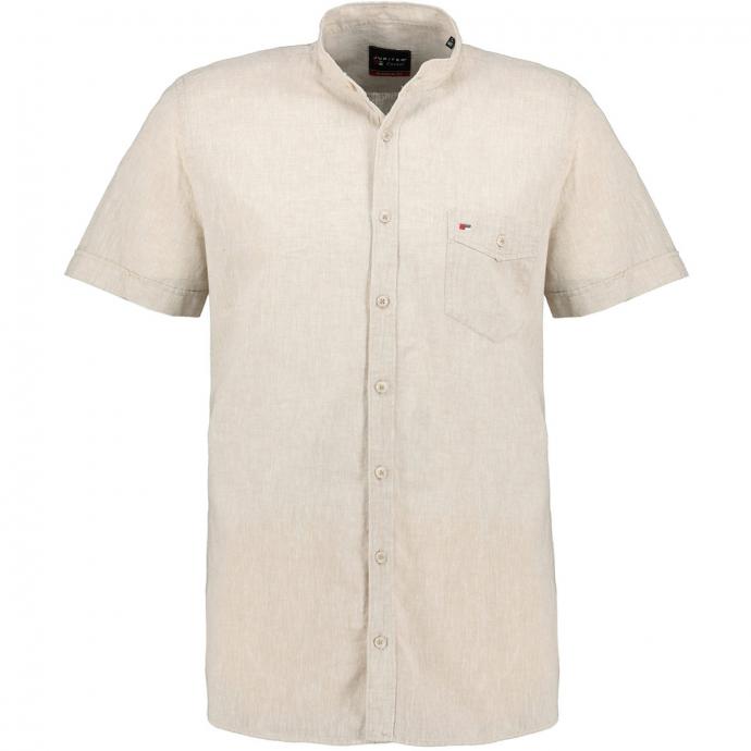 Kurzarmhemd mit Stehkragen und Leinen-Anteil beige_209 | 4XL