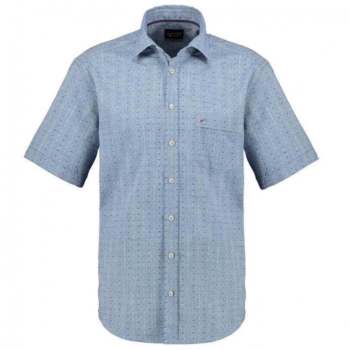 Fein strukturiertes Freizeithemd, kurzarm blau_110   3XL