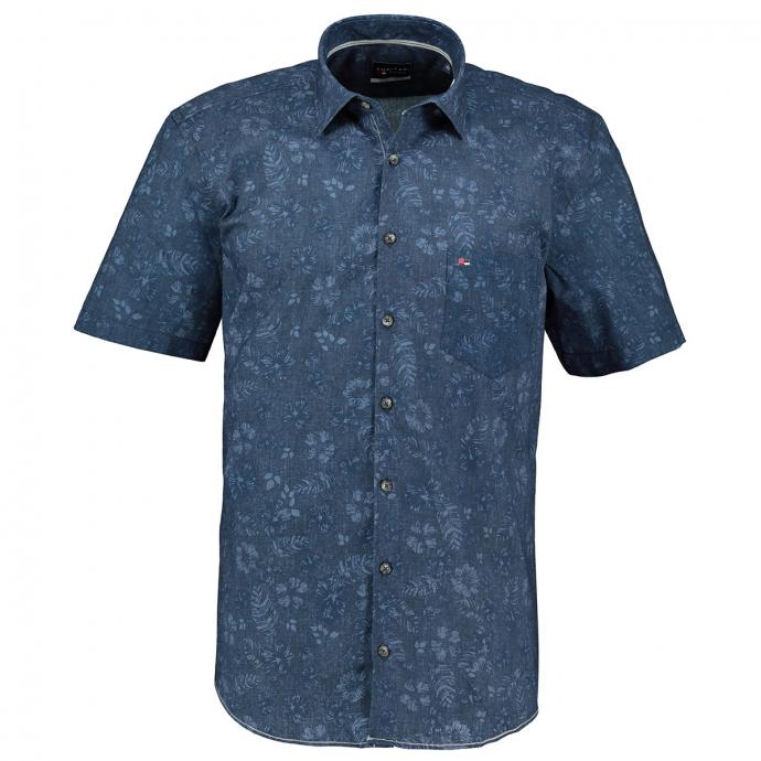 Freizeithemd mit dezent floralem Print, kurzarm blau_176 | XXL