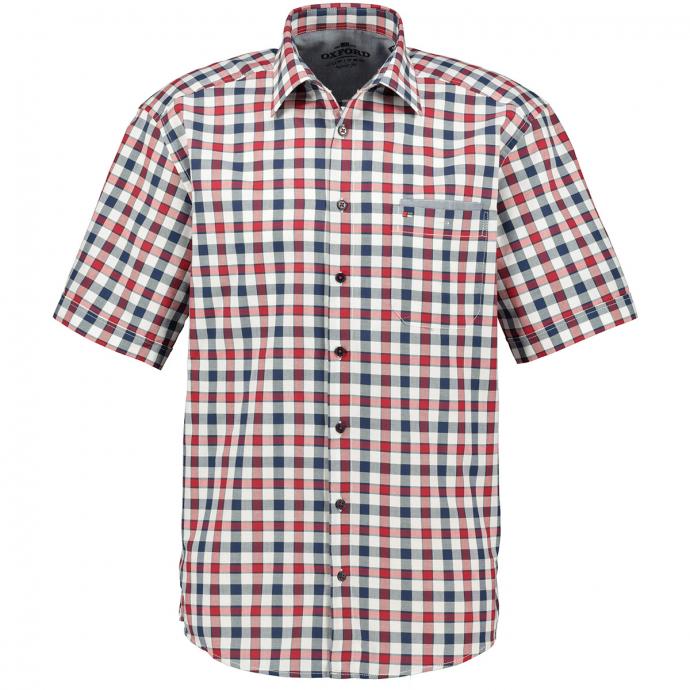 Freizeithemd in Karo gemustert, kurzarm blau/rot_356/4050 | 4XL