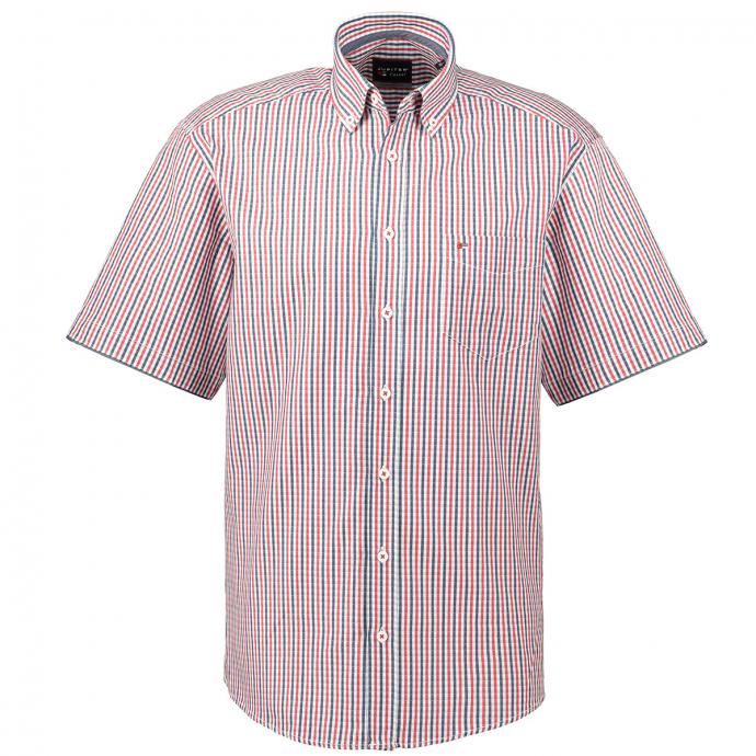 Kariertes Freizeithemd mit Ärmelaufschlag, kurzarm rot/weiß_356/5020 | XXL