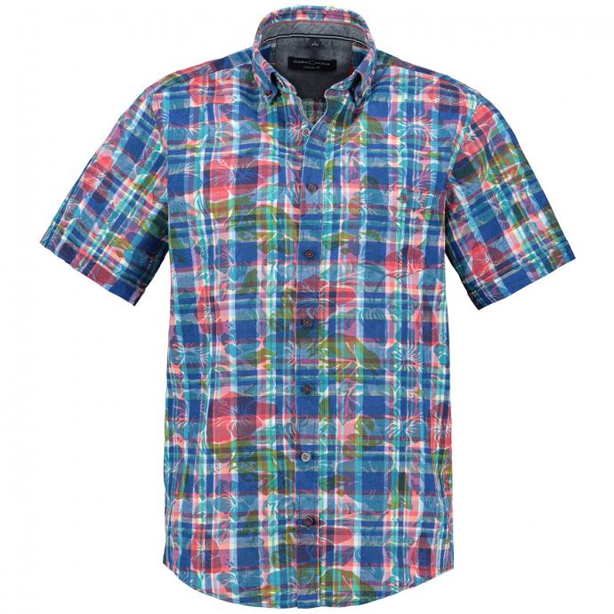 Bedrucktes Kurzarmhemd im Leinenmix blau/rot_400/4050   4XL