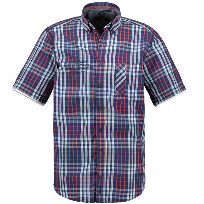 Kariertes Baumwollhemd im 2 in 1-Look blau_100 | 3XL