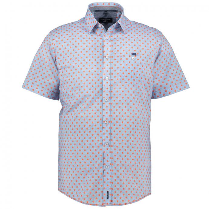 Gepunktetes Freizeithemd, kurzarm hellblau_450/42   XXL