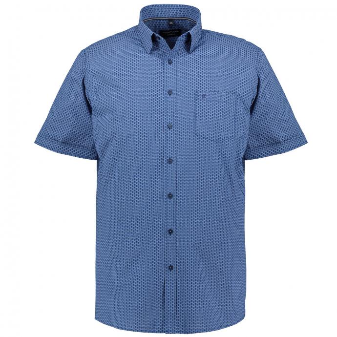 Freizeithemd im Allover-Print, kurzarm blau_100 | XXL