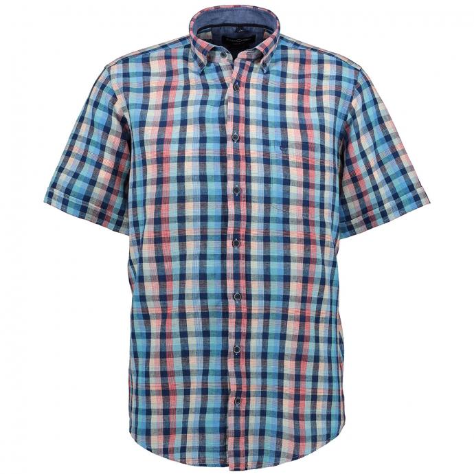 Modernes Freizeithemd im Karodesign, kurzarm türkis_350 | 3XL
